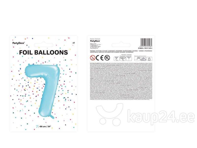 """Fooliumist õhupall Number """"7"""", 86 cm, sinine, 50 tk. Internetist"""