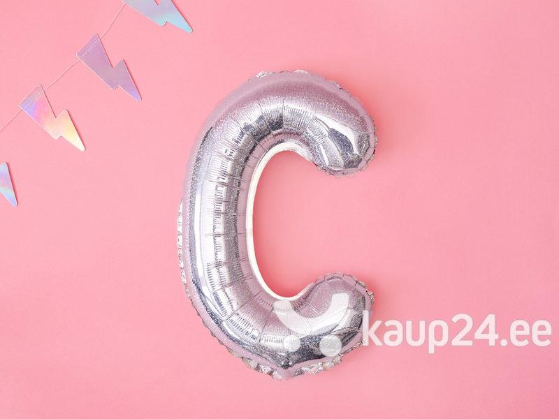"""Fooliumist õhupallid Täht """"C"""" 35 cm, hõbedane/läikiv Internetist"""