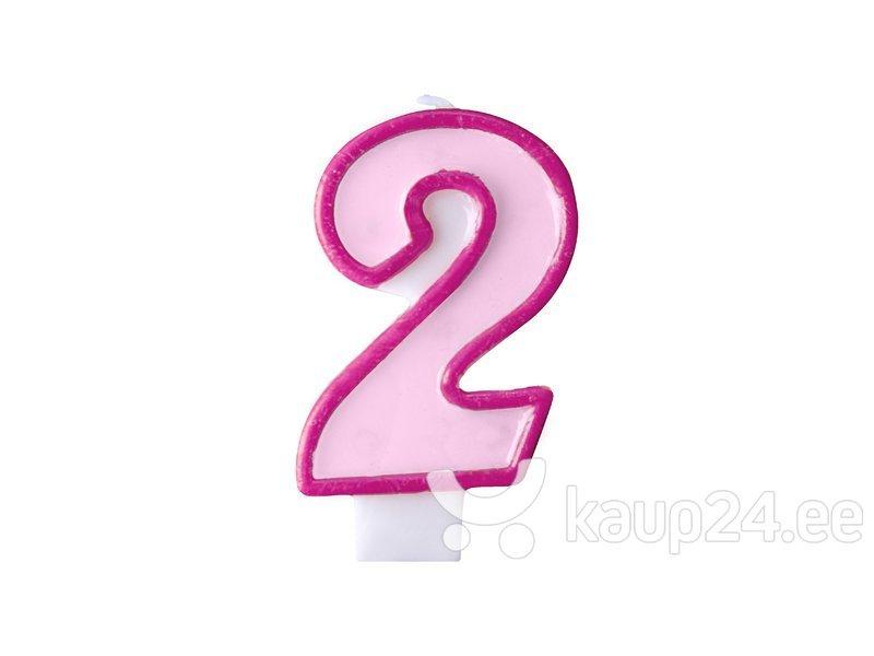 Свечи к Дню рождения Число 2, розовые, 7 см, 24 шт.