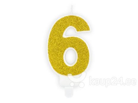 Свеча к Дню рождения Число 6, золотистая, 7 см, 1 шт.