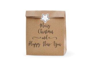 Paberist kinkeotid Merry Christmas and Happy New Year, pruun, 25x11x27 cm, 1 pakk/3 tk