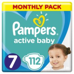 Mähkmed PAMPERS Active Baby-Dry, Monthly Box, 7 suurus, 15+kg, 112 tk