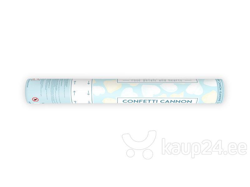 Конфетти пушка Сердечки и лепестки роз, белого и кремового цвета, 40 см, 1 коробка/72 шт