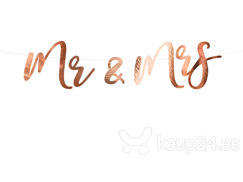 Гирлянда Mr&Mrs, цвета розового золота, 16,5x68 см, 1 упаковка/1 штука