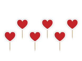 Шпажки-декорации Toppers Heart 10 см (1 упаковка/ 6 штук) цена и информация | Праздничная одноразовая посуда | kaup24.ee