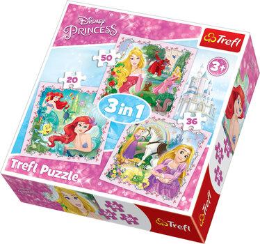 Pusle komplekt Trefl 3 in 1 Disney Princess, 20+50+36 hind ja info | Pusled | kaup24.ee