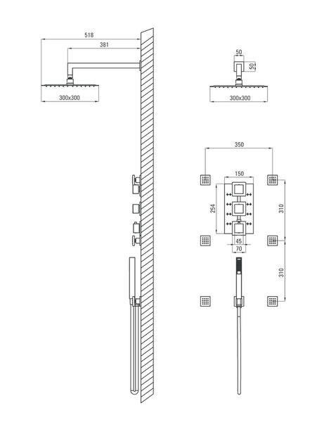 Varjatud dušikomplekt termostaadiga Deante Multi-System Internetist