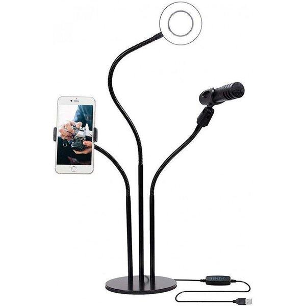 Ringvalgusti telefoni- ja mikrofonihoidikuga