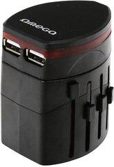 Omega reisiadapter 4in1 USB, Must