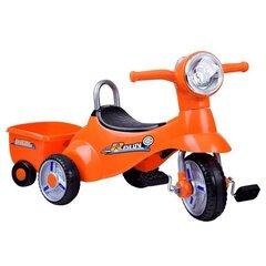 Laste kolmerattaline jalgratas 2in1 haagisega, oranž hind ja info | Laste jalgrattad | kaup24.ee
