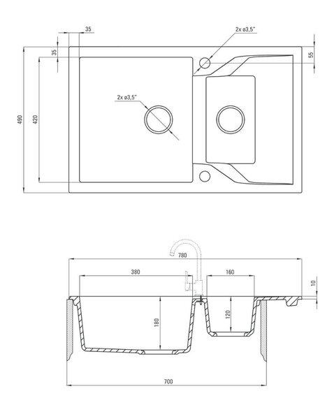 Graniidist köögivalamu Deante Andante ZQN S513, Metallic grey hind