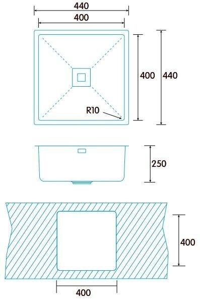 Virtuvinė plautuvė Edesa Makalu Be 40x40 cm, 1C PLUS R-10 hind