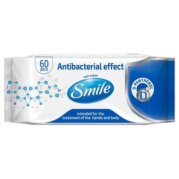 Antibakteriaalse toimega, niisked salvrätikud D-pantenooliga Smile Antibacterial effect 60 tk 10 pakki