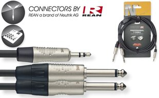 Stagg REAN 3.5mm Jack AUX TRS - 2 x 6.35mm Jack TS, 1m hind ja info | Juhtmed, adapterid | kaup24.ee