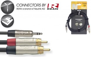 Stagg REAN 3.5mm Jack AUX TRS - 2 x RCA, 6m hind ja info | Juhtmed, adapterid | kaup24.ee