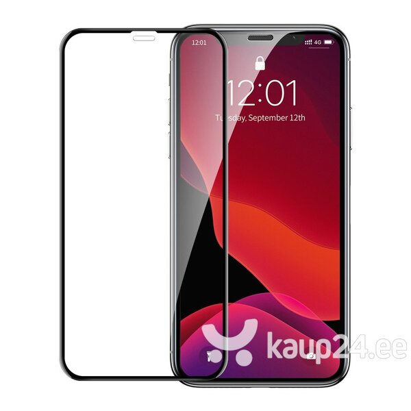 Baseus 0.23mm curved-screen tempered glass screen protector with crack-resistant edges For iPX/XS Black (SGAPIPH58-APE01) hind ja info | Ekraani kaitsekiled | kaup24.ee