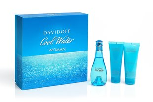 Komplekt Davidoff Cool Water: EDT naistele 100 ml + kehalosjoon 75 ml + dušigeel 75 ml