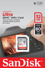 Mälukaart SANDISK 32GB Ultra SDHC 80MB/s Class 10 UHS-I