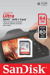 Mälukaart SANDISK 64GB Ultra SDHC 80MB/s Class 10 UHS-I