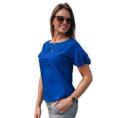 Sinine volangidega pluus BRANCHESS hind ja info | Naiste pluusid, särgid | kaup24.ee