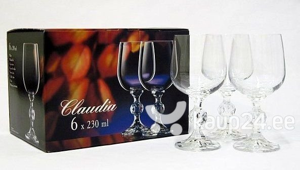 Veinipokaalid Claudia Bohemia Crystal 230 ml, 6 tk