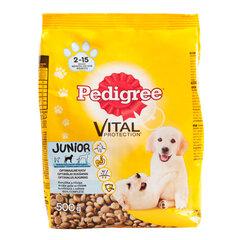 Pedigree Junior kuivtoit kanaliha ja riisiga, 500 g hind ja info | Kuivtoit koertele | kaup24.ee