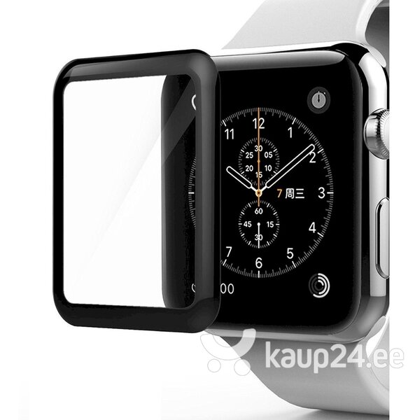 Fusion Full Glue 5D karastatud klaas, kaetud raamiga Apple Watch 3 38 mm must