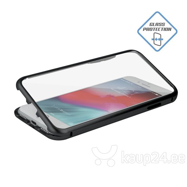 Mocco Double Side Aluminum Case 360 With Tempered Glass For Apple iPhone 6 / 6S Transparent - Black