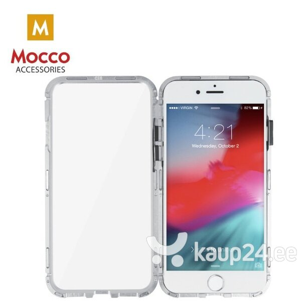 Mocco Double Side Aluminum Case 360 With Tempered Glass For Apple iPhone X / XS Transparent - Silver hind ja info | Telefoni kaaned, ümbrised | kaup24.ee