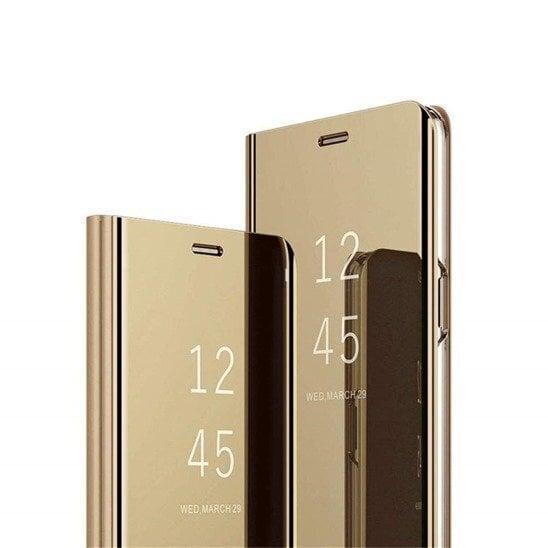 Telefoniümbris Mocco Clear View, telefonile Samsung N970 Galaxy Note 10, kuldne tagasiside
