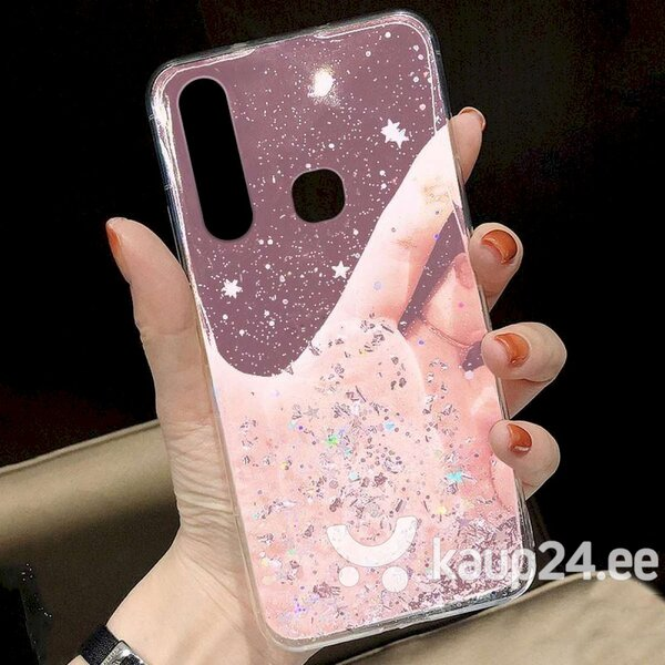 Silikoonist telefoniümbris Fusion Glue Glitter Back Case Apple iPhone 12 Mini, roosa tagasiside