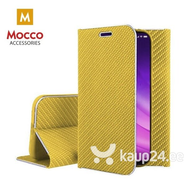 Mocco Carbon Leather Book Case For Huawei P30 Gold hind ja info | Telefoni kaaned, ümbrised | kaup24.ee