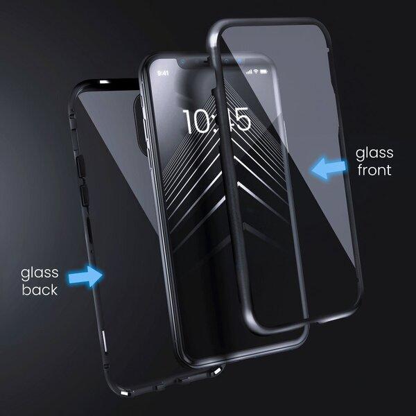 Telefoniümbris Magneto iPhone XS Max, must/läbipaistev