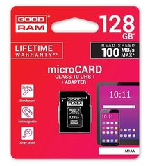 Goodram MicroSDXC 128GB Class 10/UHS 1 + Adapter цена и информация | Goodram MicroSDXC 128GB Class 10/UHS 1 + Adapter | kaup24.ee