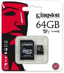 Mälukaart Kingston microSDHC (Gen II) 64 GB, 10 klass + SD adapter