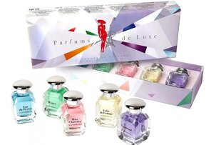 "Komplekt Charrier Parfums ""Parfums de Luxe"" naistele: Eau du Désert EDP, 12 ml + Folie de Femme EDP, 12 ml + Miss Charrie EDP, 12 ml + Vagabond EDP 12 ml + Wizzy, 12 ml hind ja info | Naiste parfüümid | kaup24.ee"