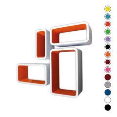 4-osaline riiulite komplekt CUBE LO01, valge/oranž