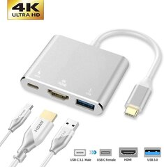 Hallo Multiport Adapter 3in1 TYPE-C - HDMI + USB3.0 + TYPE-C hind ja info | USB jagajad, adapterid | kaup24.ee