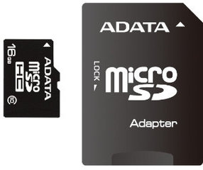 ADATA micro SDHC 16GB + SD adapter