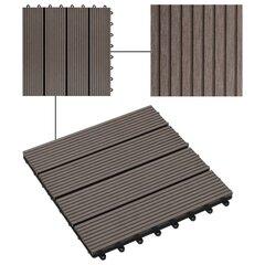 Terrassiplaadid VidaXL, WPC, 30 x 30 cm, 1 m², tumepruun, 11 tk hind ja info | Terrassipõrandad | kaup24.ee