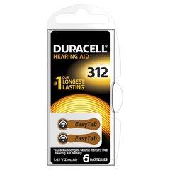 Patareid kuuldeaparaadile Duracell 312, 6 tk