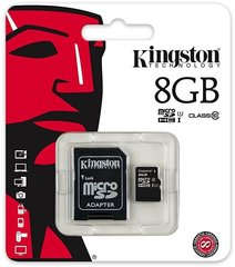 Mälukaart Kingston micro SD 8GB Class 10 U1 +adapter