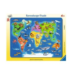 Pusle Ravensburger World Map with Animals 30 detaili, 066414