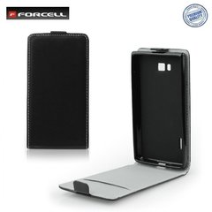 Kaitseümbris Forcell Flexi Slim Flip Lenovo A6000 vertical case in silicone holder Black