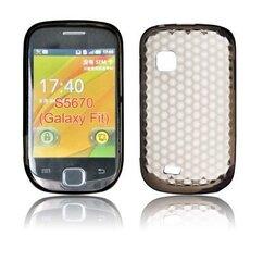 Kaitseümbris Forcell Lux Case sobib Samsung Galaxy Fit (S5670), läbipaistev/must