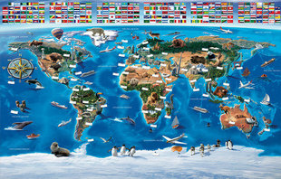 Lastetoa fototapeet Map Of the World hind ja info | Lastetoa fototapeedid | kaup24.ee