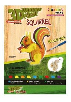 3D puidust pusle Värviline orav 41640, 20 osa hind ja info | Pusled | kaup24.ee