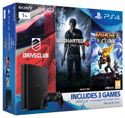 Mängukonsool Sony PlayStation 4 (PS4) Slim, 1TB (2016) + Uncharted 4, DriveClub, Ratchet & Clank