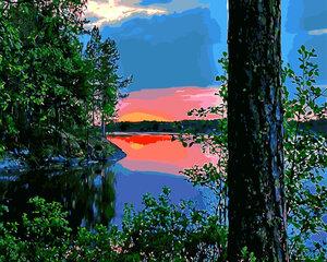 Maalimise komplekt Päikeseloojang järvele GX8897