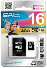 Mälukaart Silicon Power 16GB microSDHC 10 class SD adapteriga